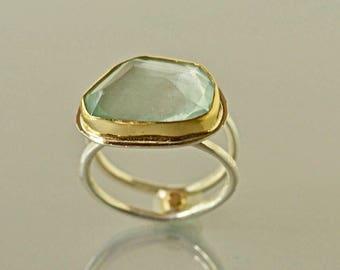 Aquamarine Ring, Sterling and Gold, Large Natural Aquamarine Ring, March Birthstone, Rose Cut Aquamarine, Clear Aqua ring,  Made to Order