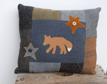 Wool Fox Pillow Upcycled Patchwork Nature Accent Cabin Woodland Rustic