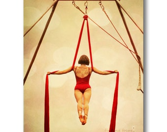 Aerialist Acrobat Photo, Gymnast Trapeze Artist in an Iron Cross on Rich Red Silks, Circus Carnival Home Decor, 8x10 Fine Art Photography