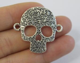 wholesale charm~~8pcs Antique Silver Skull Charm Pendant 31*33mm