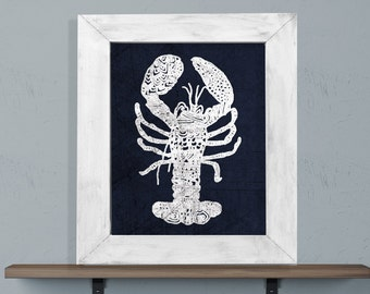 Tribal Indigo Lobster Print Navy and White 8x10 or 11x14 Coastal Boho