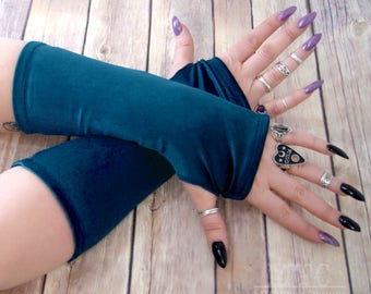 Gothic plush stretch Velvet arm warmers fingerless gloves with thumb holes choose from 19 colors MTcoffinz  MTC