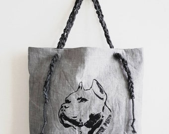 Nestor Pants tote / Pit bull print / denim tote / shoulder bag / eco bag - KNB002