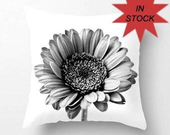 "Cushion Cover, Black and White Gerbera Daisy Pillow Case, Contemporary Home Decor, Shabby Elegance, Botanical Art, 14"" 16"" 30"" Ready To Ship"