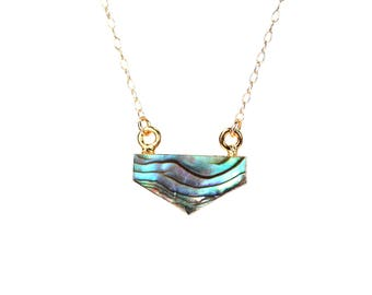 Abalone necklace - triangle necklace - geometric necklace - chevron necklace