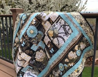 Handmade Quilt - Throw quilt - Lap Quilt - Vintage Quilt - Antique - Biking - Blue - Black - Cotton