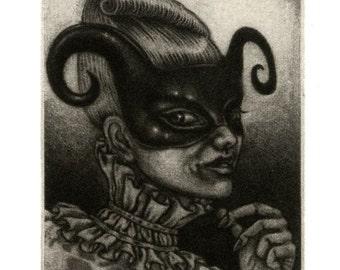 "Mezzotint print - ""Girl with Curls"" - masquerade party-goer - original artwork by Nancy Farmer, unframed. Mask, Venitian, fantasy."
