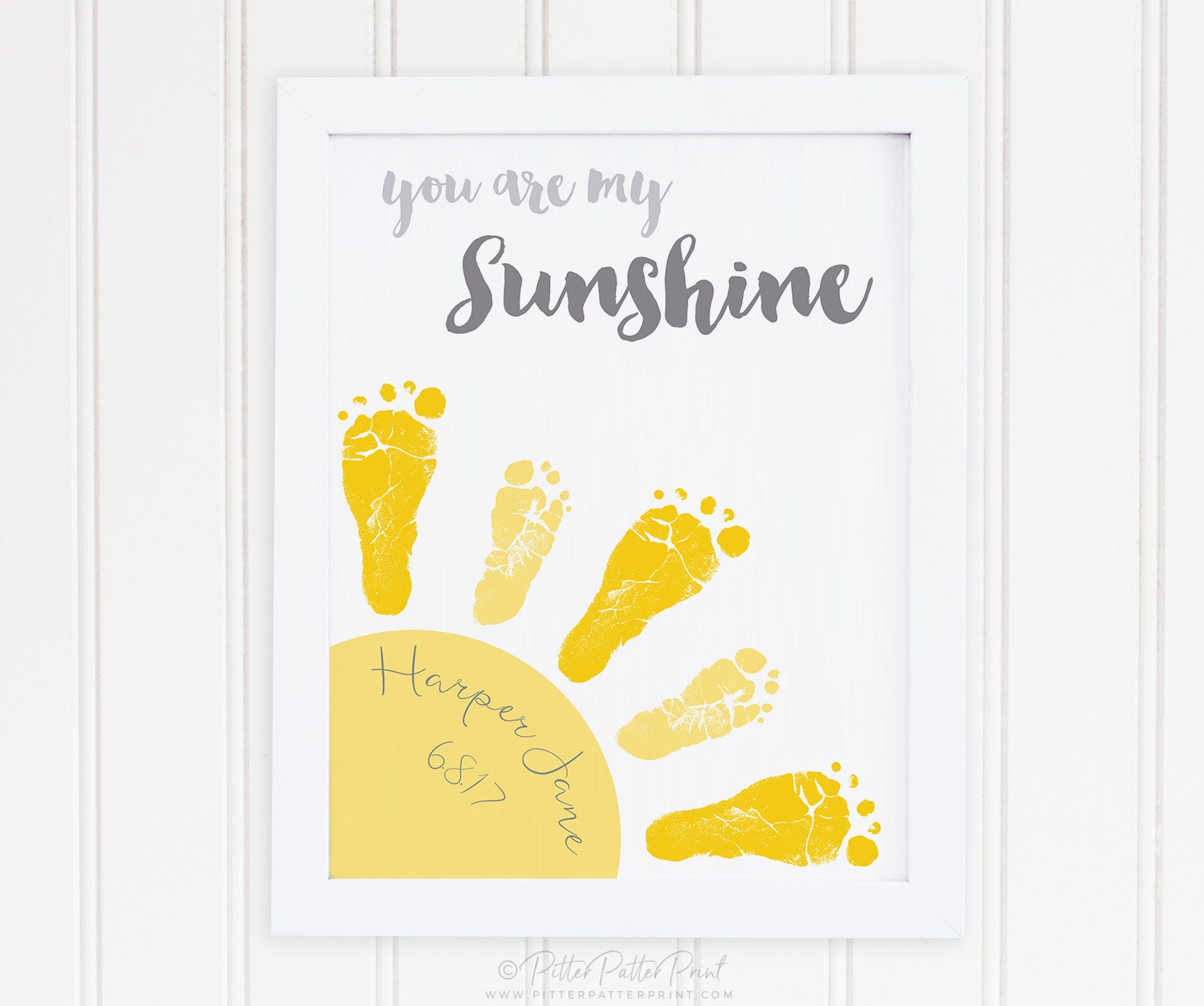 You Are My Sunshine Baby Footprint Art Print Gray & Yellow