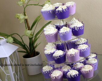 Purple Ombre Congratulations Cupcake Wrappers Kit, 32pcs
