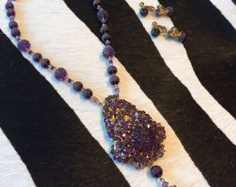 Miriam Haskell Purple Glass Necklace Set