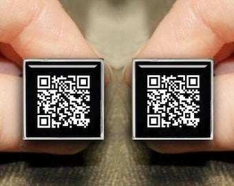Personalized QR Coded Square Cuff Button with Secret Message