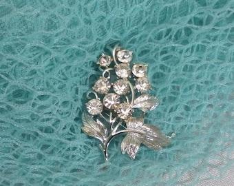 Vintage Rhinestone Flower & Leaf Brooch