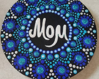 Acrylic painted magnet, wood magnet, hand painted magnet, fridge magnets, wood art, mandala style, unique gift idea, mother's day gift idea