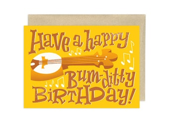 Have a Happy Bum Ditty Birthday Banjo Illustrated Greeting Card