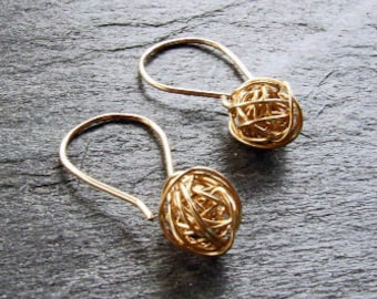 GOLD Yarn ball Tumbleweed Earrings - Woven from 12 karat Gold-filled Wire, Dangly Handmade Gift under 50