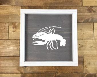 Crawfish Sign   Louisiana Decor   Louisiana Art   New Orleans Art   Framed Wood signs   Louisiana Signs   Wood Signs   Cajun decor