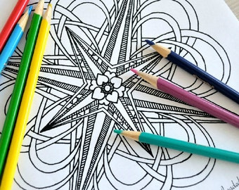 Right Direction - Compass Mandala Coloring Page - Instant Download PDF