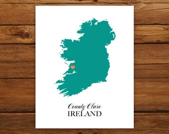 Ireland St. Patrick's Day Country Love Map Silhouette 8x10 Print - Customized