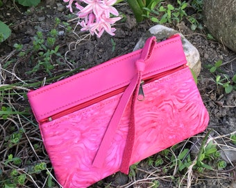 Hot Pink Leather Wallet clutch phone case accessory bag Tiny Handbag Italian Leather Pink Batik Mother's Day Bridesmaid Gift for Her