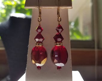 Ruby Red Swarovski and Angelique Crystal Earrings on Gold Leverbacks with Rhinestone Rondelles