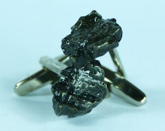Campo Del Cielo Meteorite Cufflinks No. 23 (Small) Free Cufflink Box Field of Heaven by Cufflinked