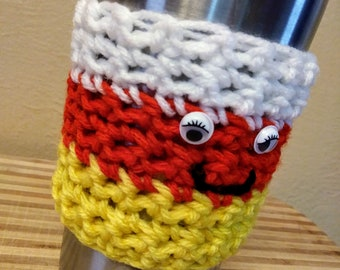 Mrs.Candy Corn Crochet Cup Cozy