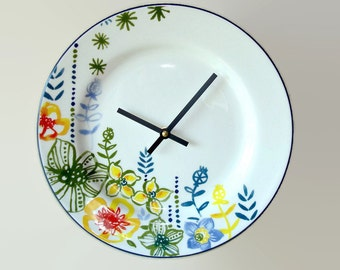 Floral Plate Wall Clock, Unique Floral Wall Clock, Whimsical Floral Wall Clock, Kitchen Clock, Goodwin Garden Plate Clock - 2370