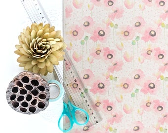 "A3 Wrapping Paper Sheet in ""Poppy Pink"" - Brown recycled kraft paper"