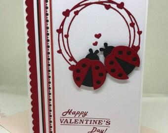 Valentines Day, Valentines Day Gift, Valentines Handmade Card, Valentines Handmade Card, I Love You Card, Love You Card, Ladybugs Card