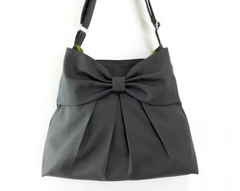 Canvas Bag Diaper bag Shoulder bag Hobo bag Handbags Tote bag Messenger bag Purse Everyday bag Bow bag  Dark Gray Tanya(S)