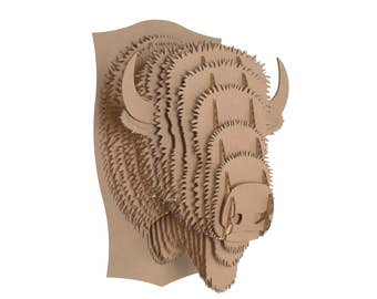 Cardboard Safari - Billy Cardboard Bison Head