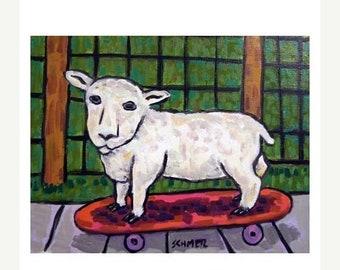 25% off Lamb on a skateboard Sheep Art Print
