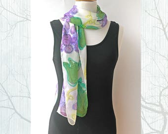 Handpainted Floral Silk Scarf - Purple Grapes - Wine lovers Scarf - Australia