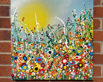 """Original Painting 'Bursting Spring' in Acrylic Painted on High Quality Boxed Canvas (20"""" x 20""""/ 600mm x 600mm)"""