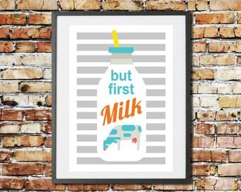 Kids MILK Wall Art Print. But First Milk Quote. Baby Nursery, Bedroom, Playroom Wall Decor