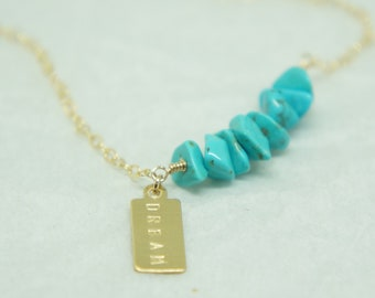 Turquoise Necklace Personalized  Turquoise jewelry   Turquoise bar necklace CUSTOM Gift for Mom  Gold Necklace     Mothers Day Gift Boho
