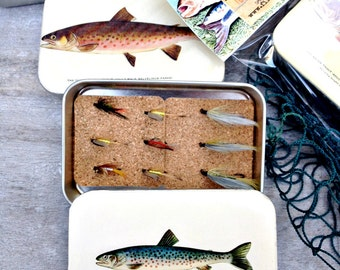 Fly fishing Box with hand tied fly, fly box, fishing gifts