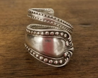 Deep Patina Antique Amston Sterling Silver Spoon Ring Jewelry