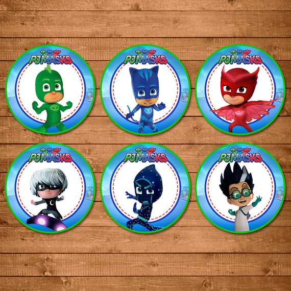 PJ Masks Cupcake Toppers - PJ Masks Stickers - PJ Masks Birthday Party Printables - Pj Masks Party Favors - Catboy Owlette Gecko Stickers