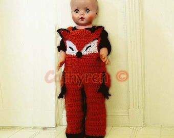 Baby Fox Costume, Overall, Buttons at Legs for Easy Change - INSTANT DOWNLOAD Crochet e-Pattern