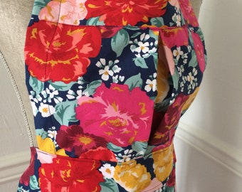 Bright and Bold Orange and Red Floral Full Apron