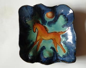 HORSE DISH, Horse Bowl,  Organic Handmade Dish with Horse, Snack Plate. Horse Plate