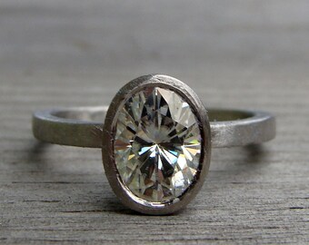 Oval Moissanite Engagement / Wedding Ring - Forever One G-H-I, in Recycled 950 Palladium - Matte/Brushed, Eco-Friendly, Made to Order