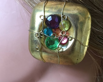 "Vintage 70's ""SQUARE DOME CLiP-ON""  Earrings with Gemstone Cluster Center"