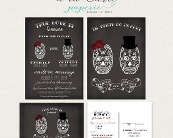 Til Death Do Us Part Chalkboard Inspired Calaveras Couple Wedding Invitation RSVP Card illustrated wedding invitation Skull DEPOSIT Payment