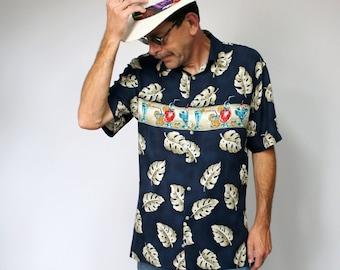 Men's Shirt Vintage Shirt Hawaiian StyleTropical Floral Bartender Cocktail Pierre Cardin Size Medium