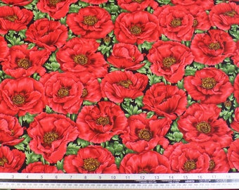 Poppies Floral Black Red 100% Cotton High Quality Fabric Material *2 Sizes*