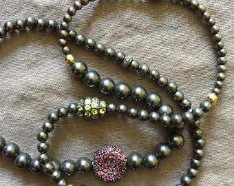 Triple Wrap Oxidized Silver Bead Stretch Bracelet/Necklace with Peridot, Ruby, Pink Tourmaline and Diamond Pave Beads
