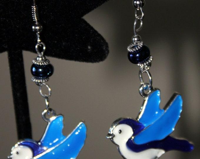 Hand Enameled Blue Bird or Chickadee or Gold Finch Earrings