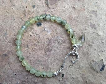 Prehnite~Green Amethyst Anchor Dew Drop Bracelet